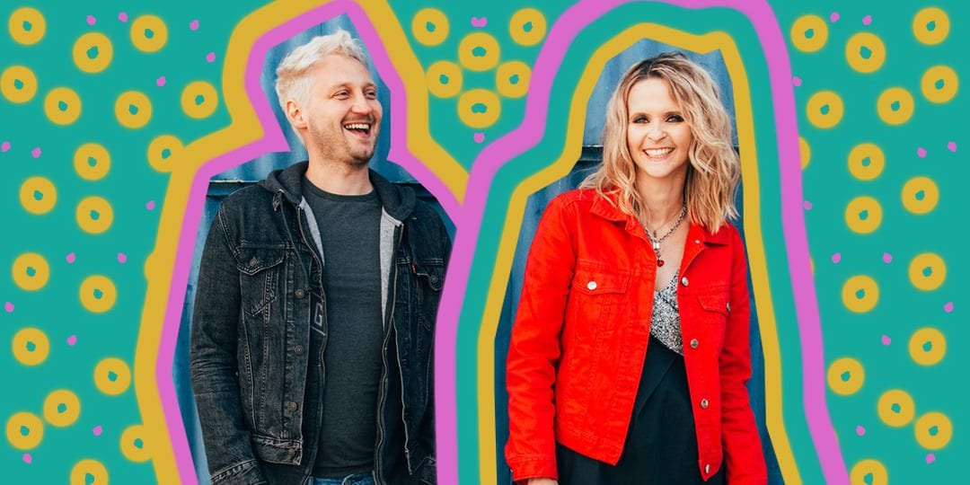 the male and female members of The Subways with a colourful psychedelic background