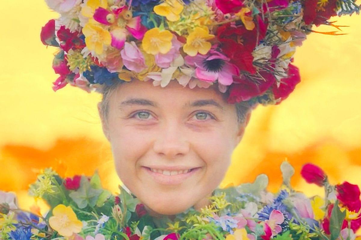 Dani smiles bestowed with flowers in midsommar